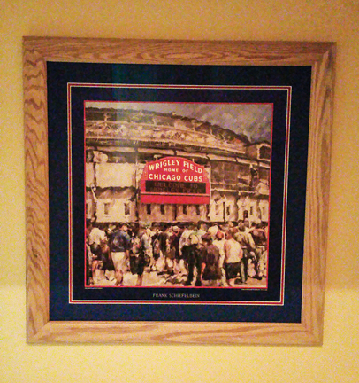 Customer custom framed Chicago Cubs Wrigley Field poster wood frame