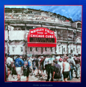 Poster of Wrigley Filed home of the Chicago Cubs main entrance