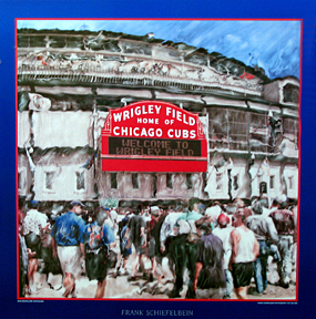 Wrigley Field hand manipulated original art square poster