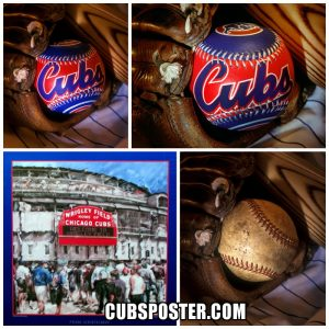 Four different Chicago Cubs and baseball posters all original art
