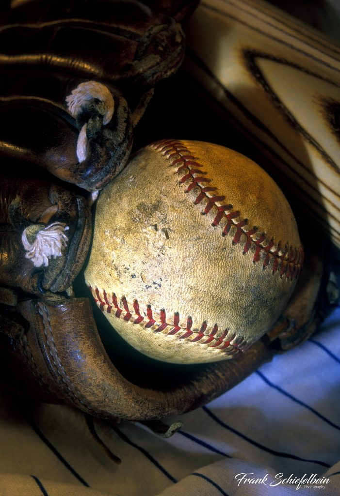 Baseball in Glove Poster Borderless
