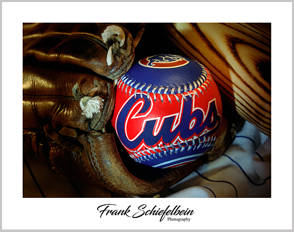 Chicago Cubs Baseball in Glove Poster Border Horizontal
