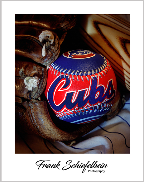 Chicago Cubs Baseball in Glove Poster Border Vertical