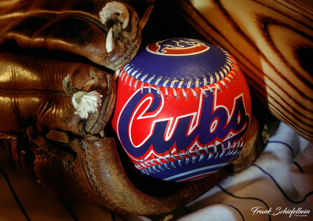 Chicago Cubs Baseball in Glove Poster Horizontal Borderless